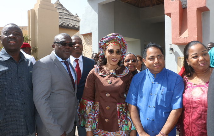 The First Lady of The Gambia Mrs Fatoumatta Barrow with Mr Sosthene DOUGROU, Regional TS Health System Strengthening/ Maternal Health Focal Point, ECOWAS, WAHO,  USAID and EngenderHealth representatives.